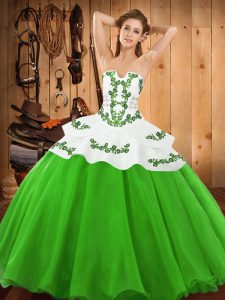 Custom Made Satin and Organza Sleeveless Floor Length Sweet 16 Dress and Embroidery