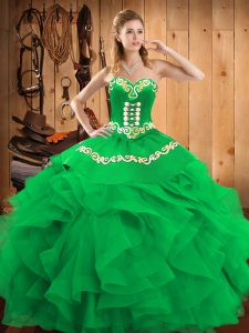 Pretty Green Sleeveless Embroidery Floor Length 15th Birthday Dress