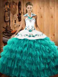 Glamorous Turquoise Ball Gowns Organza Halter Top Sleeveless Embroidery and Ruffled Layers Floor Length Lace Up 15th Birthday Dress