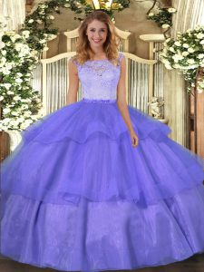 Floor Length Clasp Handle 15th Birthday Dress Lavender for Military Ball and Sweet 16 and Quinceanera with Lace and Ruffled Layers