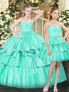 Floor Length Lace Up Ball Gown Prom Dress Aqua Blue for Military Ball and Sweet 16 and Quinceanera with Ruching