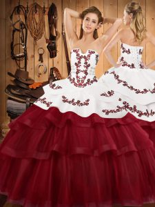 Admirable Lace Up 15th Birthday Dress Wine Red for Military Ball and Sweet 16 and Quinceanera with Embroidery and Ruffled Layers Sweep Train