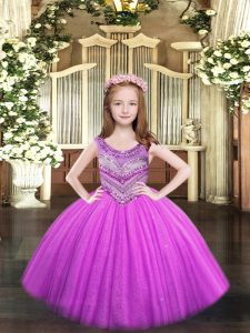 Lilac Ball Gowns Tulle Scoop Sleeveless Beading Floor Length Lace Up Pageant Gowns