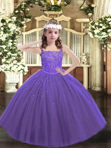 Purple Ball Gowns Tulle Straps Sleeveless Beading Floor Length Lace Up Winning Pageant Gowns