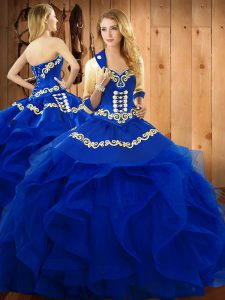 Luxurious Blue Sweetheart Neckline Embroidery and Ruffles Quinceanera Dress Sleeveless Lace Up