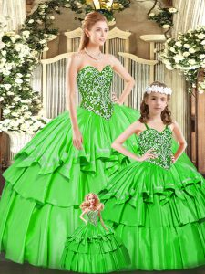 Attractive Sweetheart Sleeveless Quinceanera Gown Floor Length Beading and Ruffled Layers Green Organza