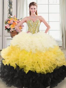 Multi-color Organza Zipper Sweetheart Sleeveless Quinceanera Dresses Beading and Ruffles