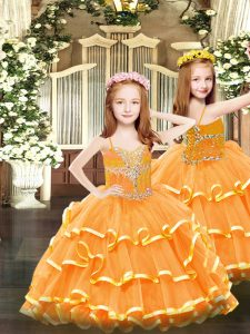 Sleeveless Organza Floor Length Lace Up Kids Pageant Dress in Orange with Beading and Ruffled Layers