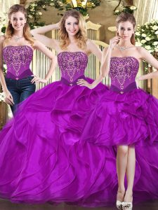 Inexpensive Fuchsia Ball Gowns Tulle Strapless Sleeveless Beading and Ruffles Floor Length Lace Up Quinceanera Gowns