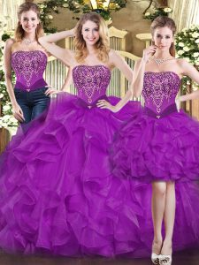 High Class Sweetheart Sleeveless Organza Quinceanera Dress Beading and Ruffles Lace Up