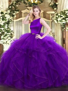 Purple Organza Clasp Handle Sweet 16 Quinceanera Dress Sleeveless Floor Length Ruffles