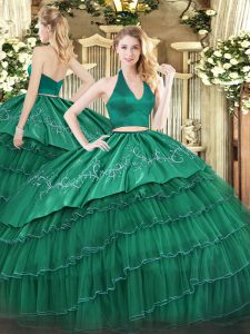 Embroidery and Ruffled Layers 15 Quinceanera Dress Dark Green Zipper Sleeveless Floor Length