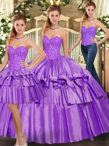 High Quality Eggplant Purple Three Pieces Beading and Ruffled Layers Quinceanera Dresses Lace Up Organza Sleeveless Floor Length