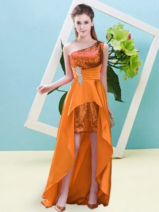 Stylish Orange Sleeveless High Low Beading and Sequins Lace Up
