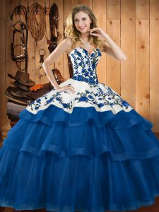 High Class Sleeveless Sweep Train Lace Up Embroidery Sweet 16 Quinceanera Dress