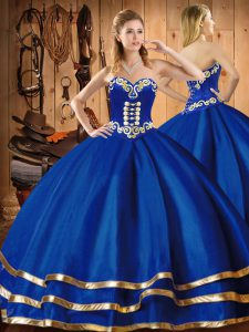 Chic Blue Ball Gowns Embroidery Quinceanera Dresses Lace Up Organza Sleeveless Floor Length