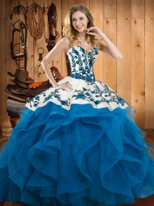 Hot Selling Sleeveless Floor Length Embroidery and Ruffles Lace Up Sweet 16 Dress with Baby Blue