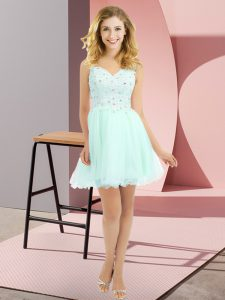 Apple Green Empire Beading and Lace Vestidos de Damas Side Zipper Tulle Sleeveless