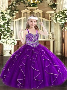Simple Floor Length Ball Gowns Sleeveless Purple Kids Formal Wear Lace Up