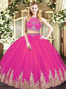 Perfect Hot Pink Ball Gowns Tulle Scoop Sleeveless Beading and Appliques Floor Length Zipper Quinceanera Gowns