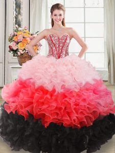Admirable Beading and Ruffles Sweet 16 Dress Multi-color Lace Up Sleeveless Floor Length