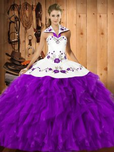 Eggplant Purple Sweet 16 Dress Military Ball and Sweet 16 and Quinceanera with Embroidery and Ruffles Halter Top Sleeveless Lace Up