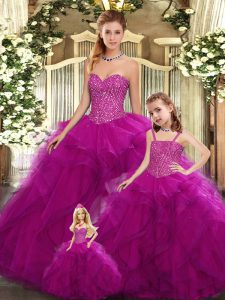 Sleeveless Organza Floor Length Lace Up Sweet 16 Quinceanera Dress in Fuchsia with Beading and Ruffles