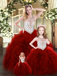 Dramatic Wine Red Ball Gowns Scoop Sleeveless Tulle Floor Length Lace Up Beading and Ruffles Sweet 16 Dress