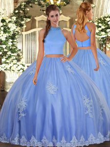 Baby Blue Backless Sweet 16 Quinceanera Dress Beading and Appliques Sleeveless Floor Length