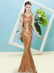 Rust Red Sleeveless Sequins Floor Length Dress for Prom