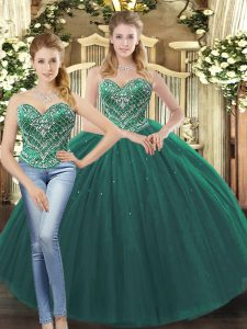 Floor Length Dark Green Sweet 16 Dress Sweetheart Sleeveless Lace Up
