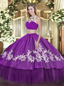 Purple Sleeveless Floor Length Beading and Appliques and Ruffles Backless Quinceanera Dress