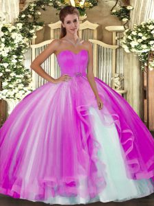 Fuchsia Lace Up Quince Ball Gowns Beading Sleeveless Floor Length