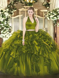 Olive Green Two Pieces Ruffles Quinceanera Gowns Zipper Organza Sleeveless Floor Length