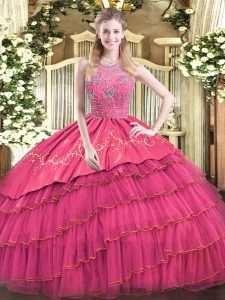 Sweet Beading and Embroidery and Ruffled Layers Quinceanera Gowns Hot Pink Zipper Sleeveless Floor Length
