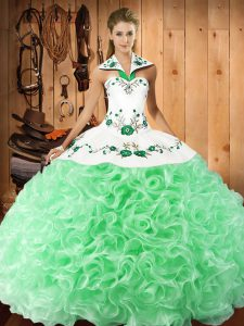 Latest Halter Top Sleeveless Lace Up Quince Ball Gowns Apple Green Fabric With Rolling Flowers