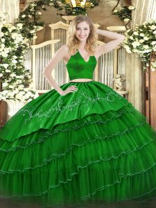Wonderful Sleeveless Floor Length Embroidery Zipper 15th Birthday Dress with Green