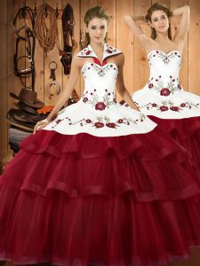 Wine Red Sleeveless Embroidery and Ruffled Layers Lace Up Sweet 16 Dress