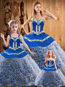 Amazing Multi-color Ball Gowns Embroidery 15th Birthday Dress Lace Up Fabric With Rolling Flowers Sleeveless