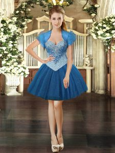 Beading Prom Gown Royal Blue Lace Up Sleeveless Mini Length