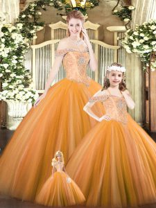 Exceptional Orange Lace Up Off The Shoulder Beading Quinceanera Dress Tulle Sleeveless