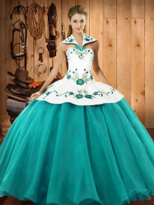 Spectacular Turquoise Sleeveless Floor Length Embroidery Lace Up Sweet 16 Dress