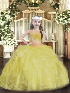 Gold Lace Up Custom Made Pageant Dress Beading and Ruffles Sleeveless Floor Length
