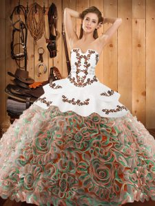 Most Popular Multi-color Satin and Fabric With Rolling Flowers Lace Up Strapless Sleeveless With Train Quinceanera Gowns Sweep Train Embroidery