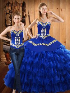 Gorgeous Ball Gowns Quinceanera Dress Blue Sweetheart Tulle Sleeveless Floor Length Lace Up