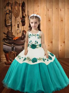 Beautiful Organza Straps Sleeveless Lace Up Embroidery Little Girls Pageant Dress Wholesale in Aqua Blue