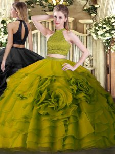 Olive Green Ball Gown Prom Dress Military Ball and Sweet 16 and Quinceanera with Beading and Ruffles Halter Top Sleeveless Backless