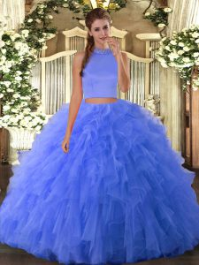 Gorgeous Two Pieces Quinceanera Dress Blue Halter Top Tulle Sleeveless Floor Length Backless