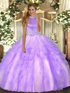 Stunning Lavender Backless Sweet 16 Dress Beading and Ruffles Sleeveless Floor Length