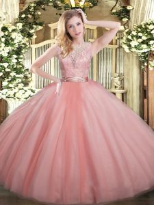 High Class Sleeveless Tulle Floor Length Backless Quince Ball Gowns in Baby Pink with Lace